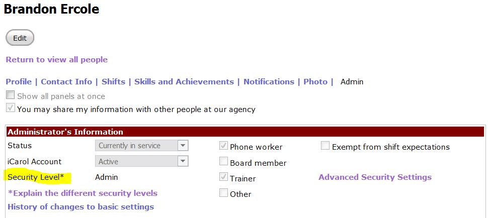 Admin tab profile