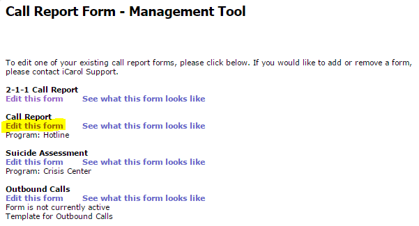 Choose call form to edit