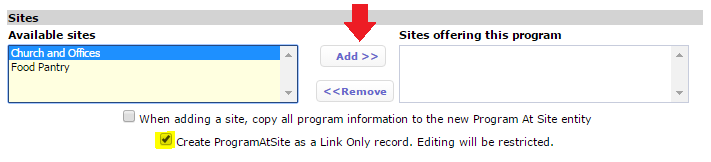 Create a Link Only ProgramAtSite record