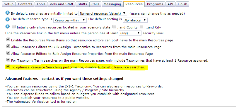 Disable Automatic Resource Search