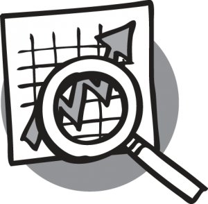 Graph with magnifying glass