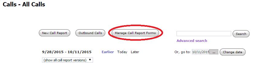Main Calls Page