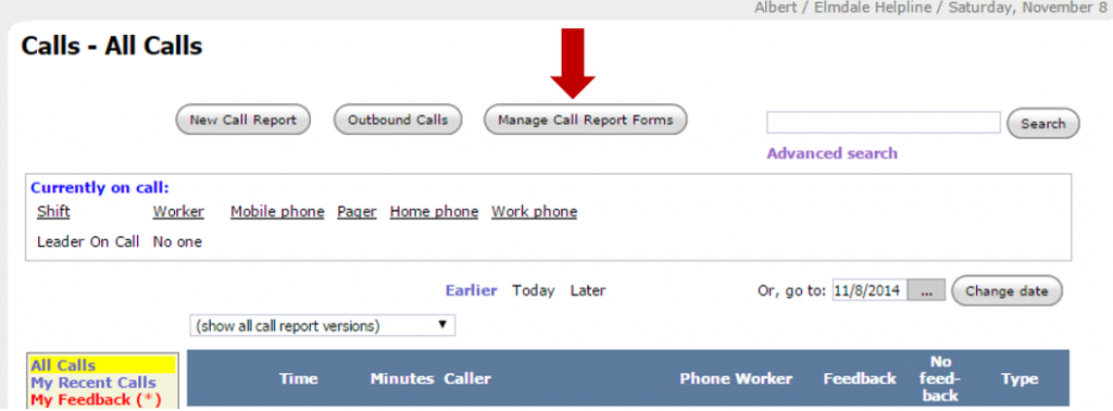 Manage Call Report Forms