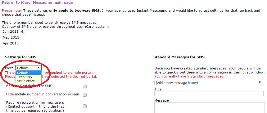 sms text portal setting