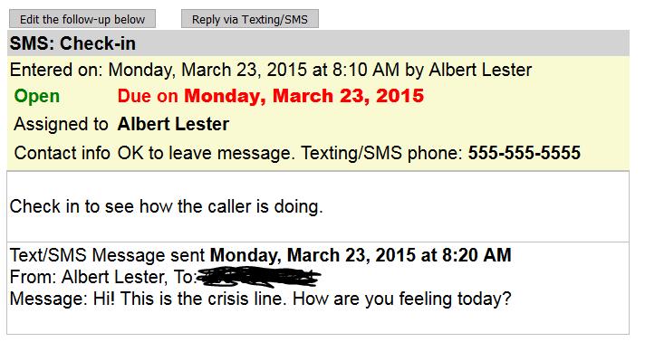 Sent follow-up SMS