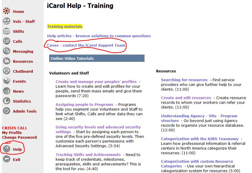 iCarol help page