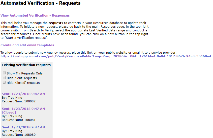 automated verification requests