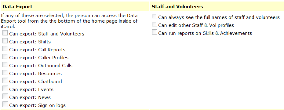 Advanced security settings - Export and Vols Staff