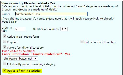 Call Report Editor Use as filter in statistics