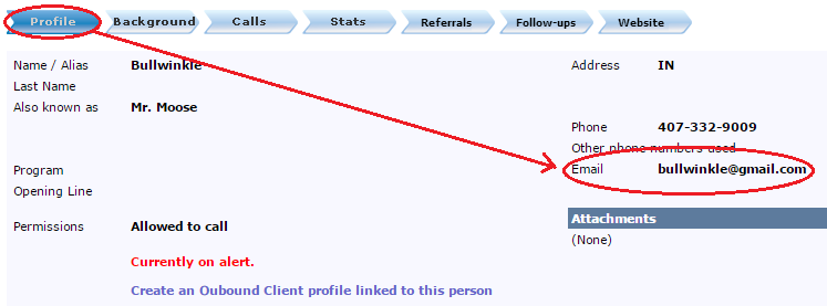 caller client email track account website