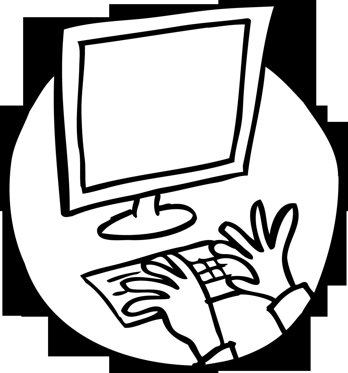 Keyboard and screen in use