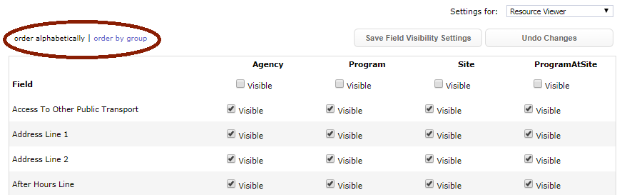 New Field Visibility order by group or alphabetically