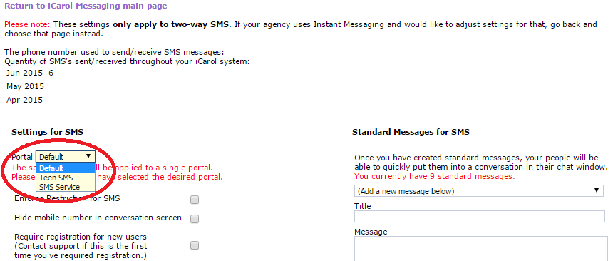 sms text portal setting