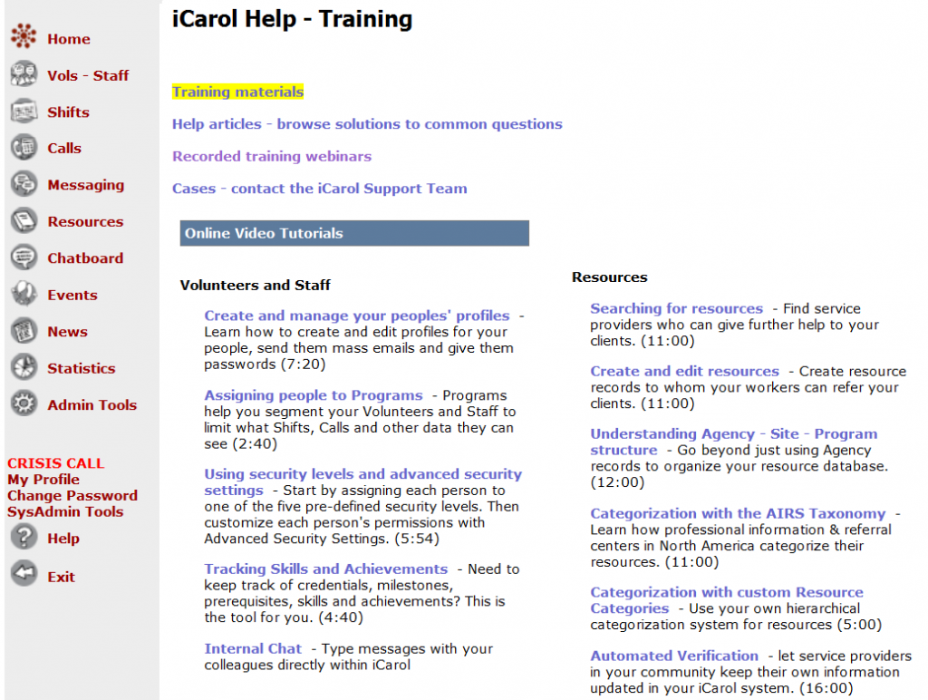 Training page