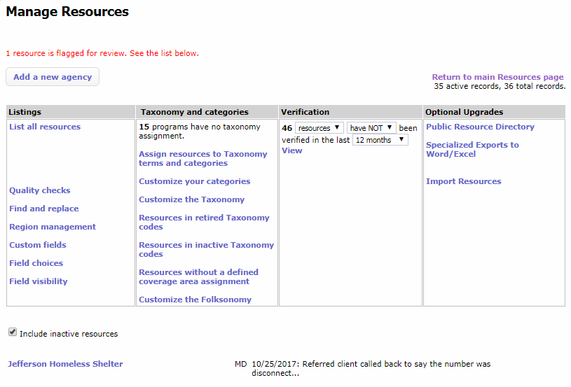 alert of flagged resource on manage resources page