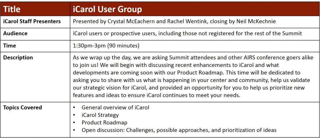 iCarol User Group session AIRS 2017