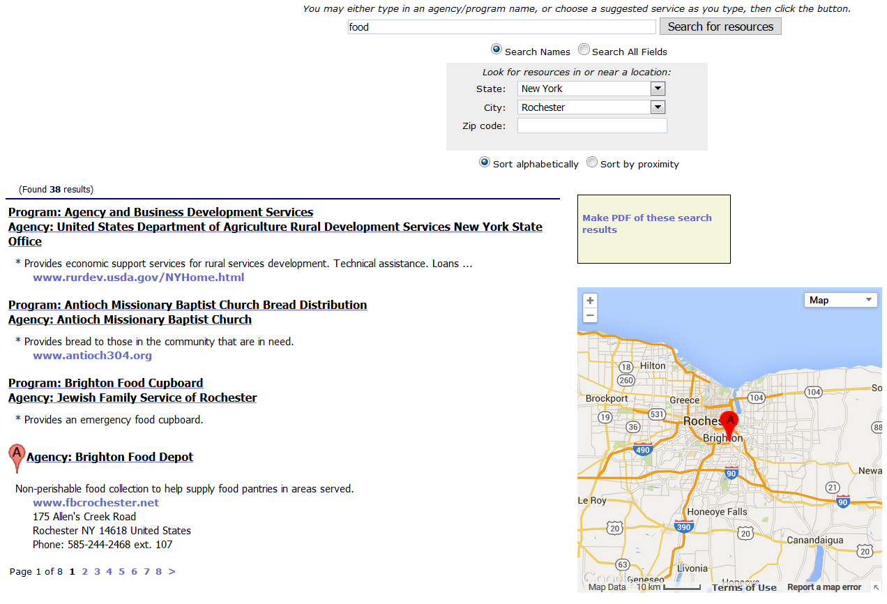 guided search pre populated public resource directory